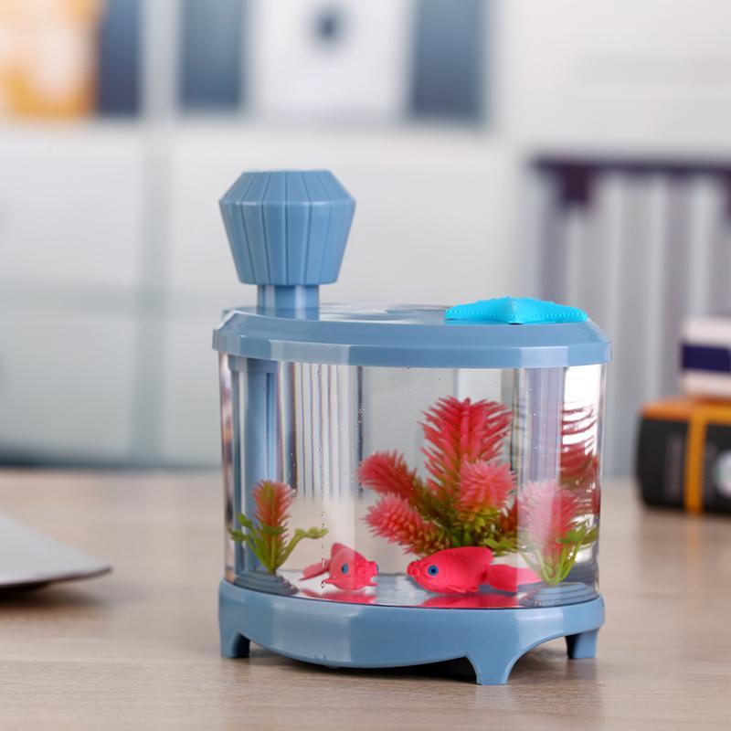 Yaratıcı Fish Tank Nemlendirici Ev Mini USB Ultrasonik Hava Nemlendirici Güzel Gece Işığı DC5V 460ml Aroma Yağı Yayıcı 1012