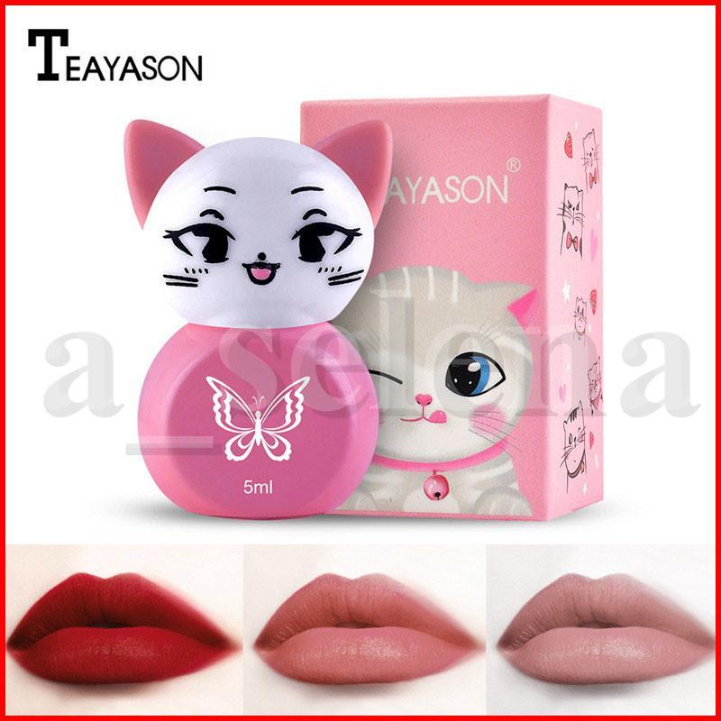 Teayason Sevimli Kedi Şekli Dudak Makyajı Su geçirmez Lip Gloss Mat Likit Ruj Uzun Çıplak Parlak Lipgloss Seksi Batom Kozmetik Kalıcı