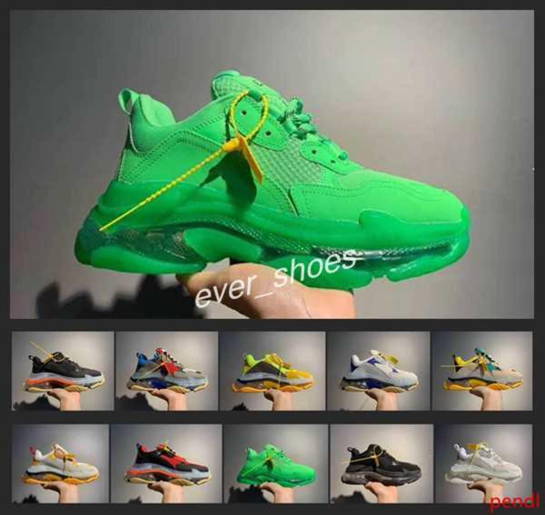 Nueva Triple S zapatillas de cristal verde del arco iris de fondo Hombres Mujeres deporte casuales de la moda de París Kanye 17FW papá Entrenadores de diseño zapatos 36-45