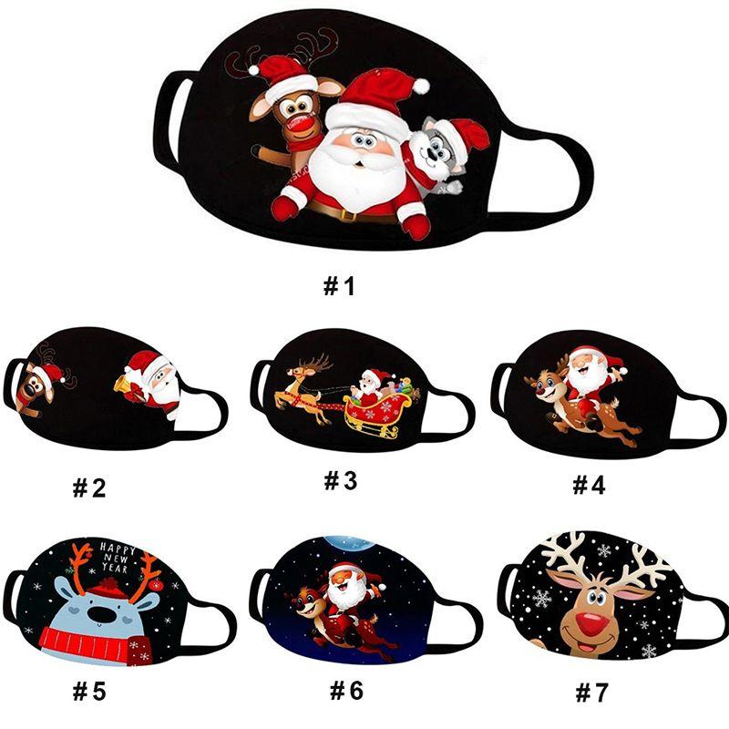 Mascarillas Navidad de Navidad de la boca de la cubierta lavable reutilizable impreso historieta del polvo anti Máscara Adulto Menor Negro poliéster algodón