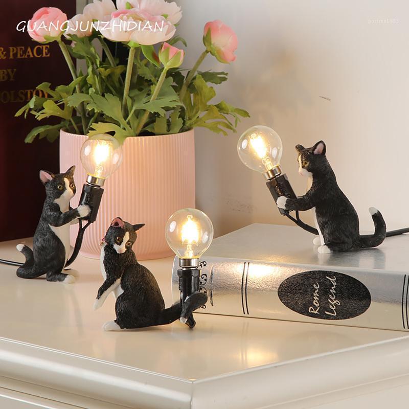 Светодиодное освещение Nordic творческий милый животных мыши гостиная столовая спальня настольная лампа современного черного штекера EU Plug Plass1