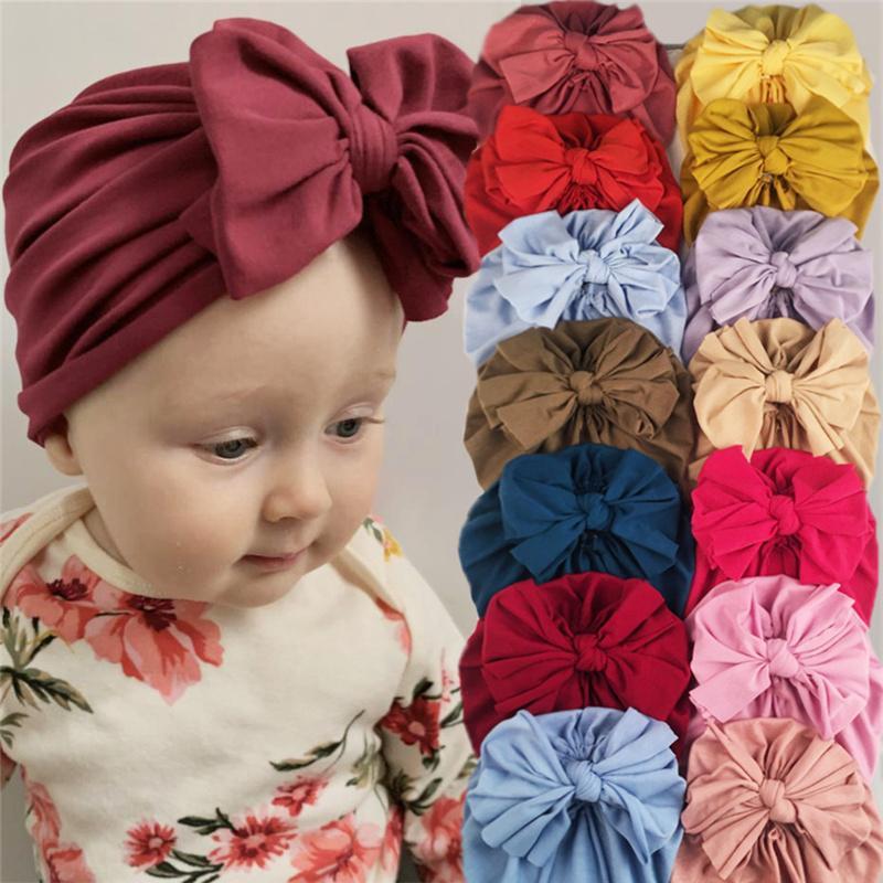 Малыш Newborn Baby Bowknot Hats Big Bows Head Waph Caps Flower Headband младенческой головой шапочки дети Gilrs Band Hair Brand Cap Cap G10507