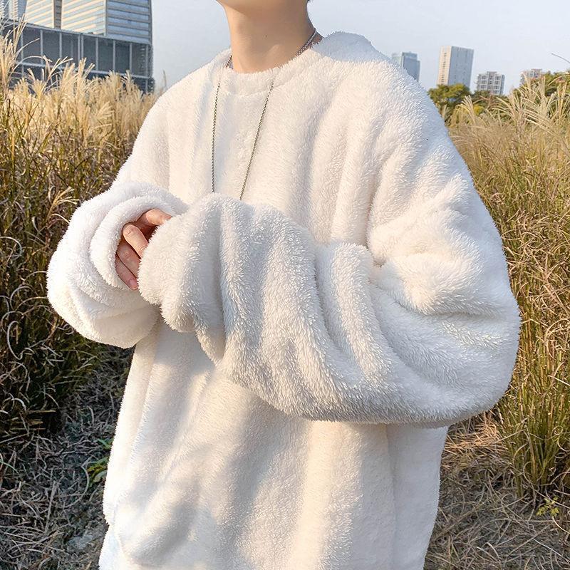 Männer pullover 2020 herbst winter neue dünne einfarbig lammwolle viel süße pullover casual personalität jugend männer wear1