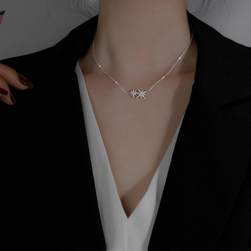 925 Sterling Silber Stern Halskette für Frauen Luxus CZ Clawicle Kette Halskette Schmuck Geschenke Großhandel