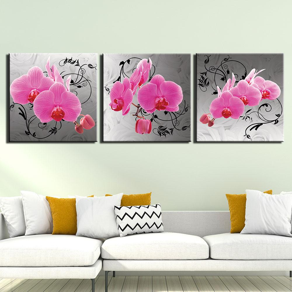 3 Pieces HD Prints Canvas Prints Painting Pink Orchid Flower Wall Art Picture For Living Room Wall Decor Home Decoration