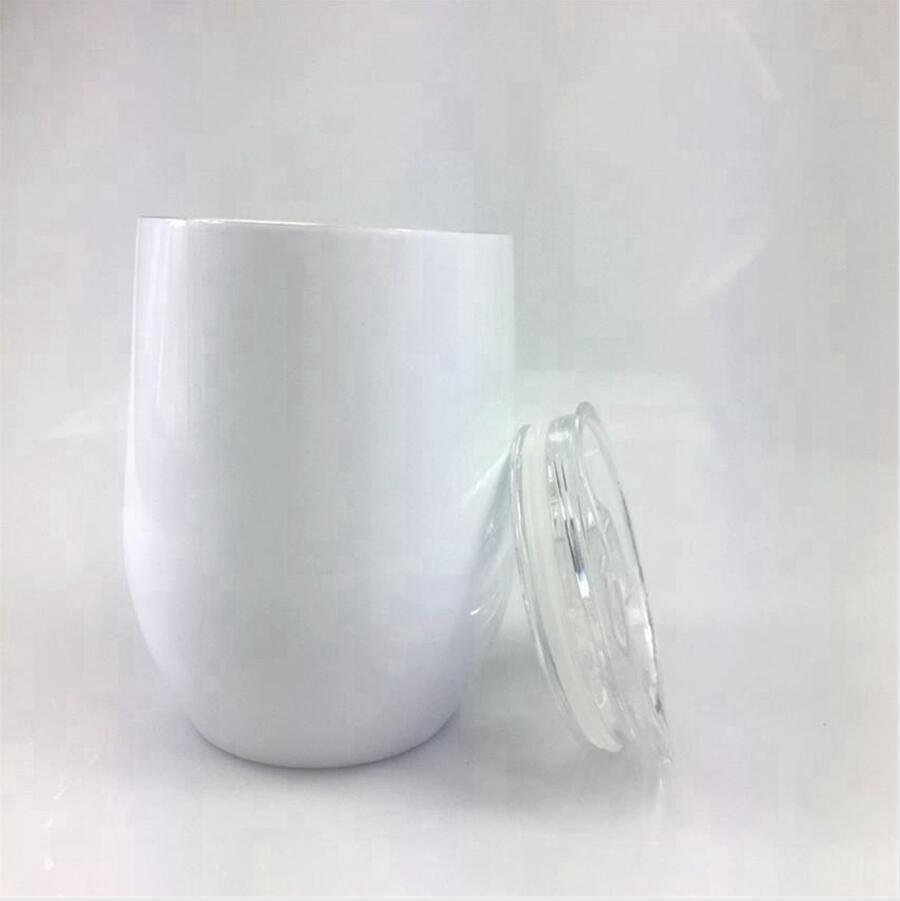 12oz Sublimation Egg Cup Stainless Steel Vacuum Wine Tumbler With Lid Double Wall Coffee Beer Mug Sea Shipping DDA683