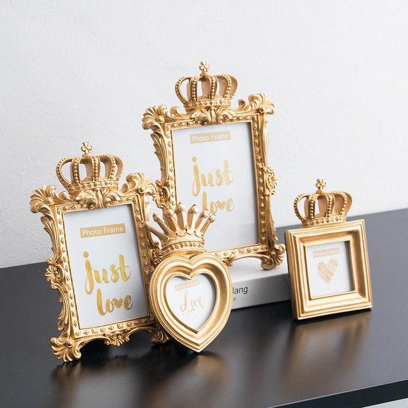 خمر منحوت ذهب ولي العهد إطار الصورة الذهب الراتنج إطار الصورة سطح المكتب 6/7 بوصة الصور الصفحة الرئيسية حامل لمناسبات الزفاف الحرفية EUCq #