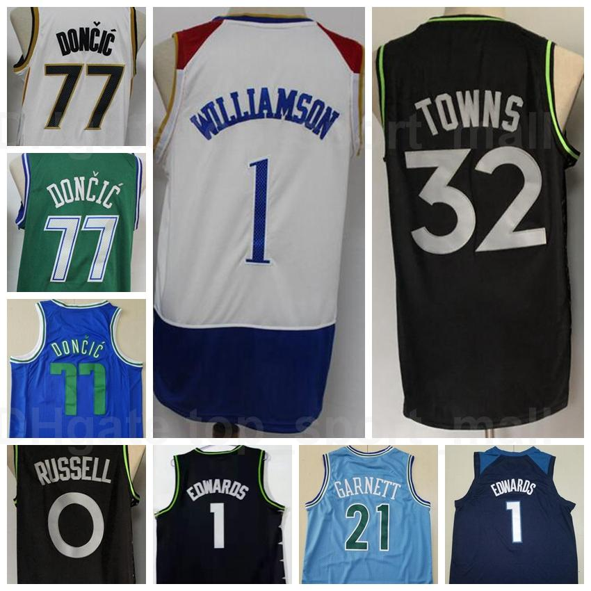 Men City Garned Edition Baloncesto Anthony Edwards Jersey 1 Karl Anthony Towns 32 D Angelo Russell 0 Kevin Garnett 21 Luka Doncic 77