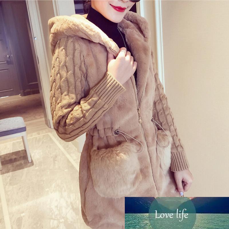 Frauen Winterjacke mit Kapuze Mantel Pelz-Faux Pelz Strickpulloverjacke Warme Oberbekleidung Mantel Damen Casual Coats Jaqueta