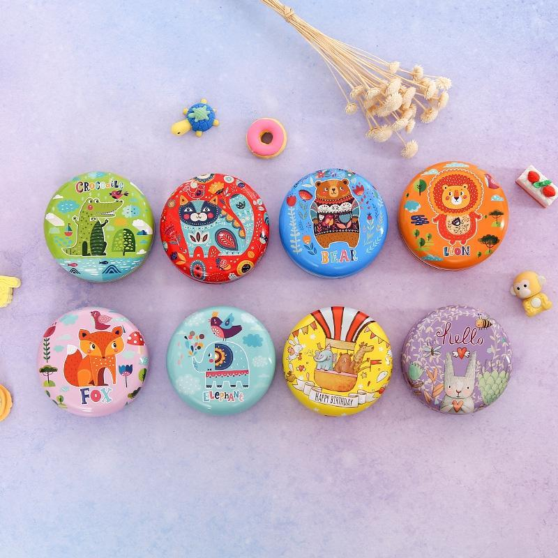 1 PC Round Storage Box Cartoon Design Tinplate Candy Box Decorative Containers For Coins Headset USB Cable Keys Jewelry