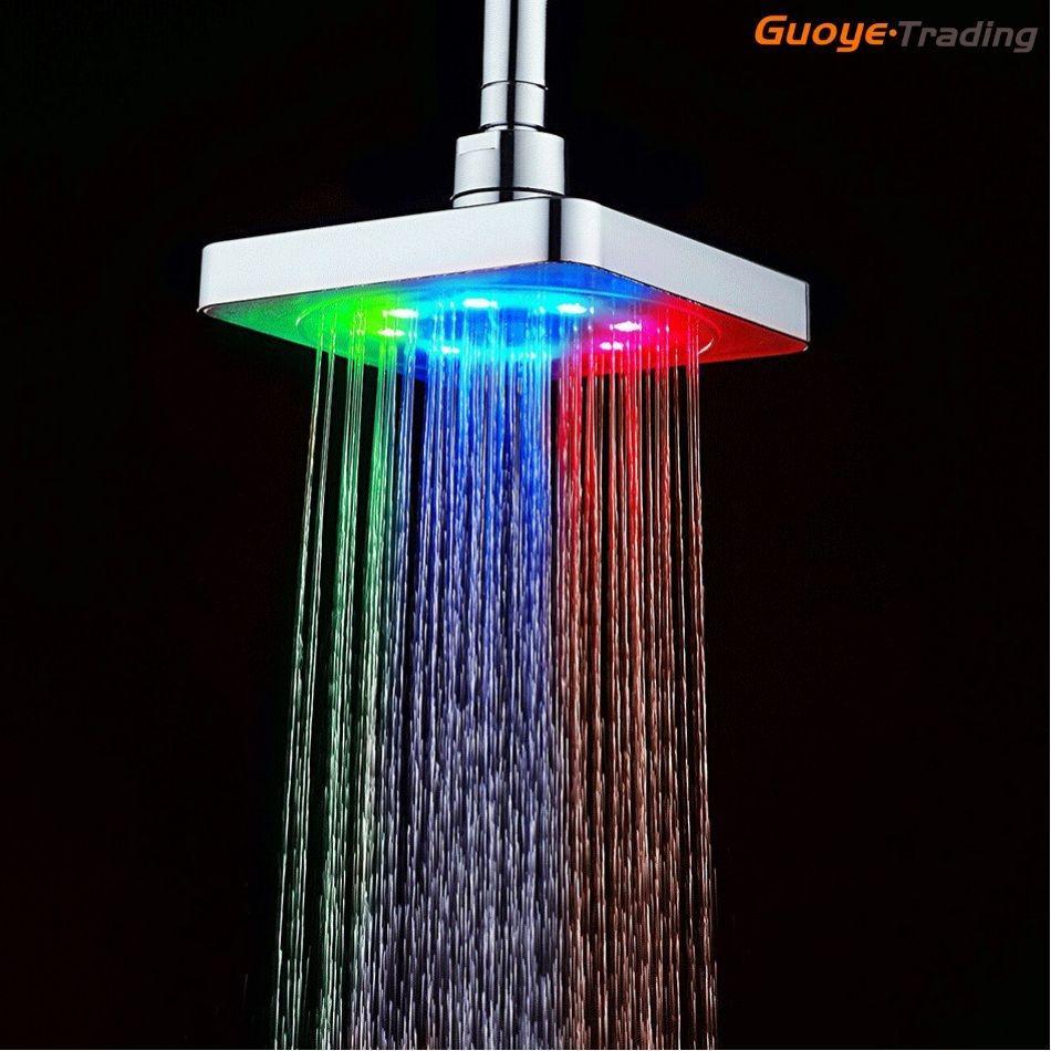 جعل الساخنة بيع التحكم في درجة الحرارة ضوء رومانسي حمام دش رؤساء 8 LED أضواء 7 ألوان 6 بوصة ساحة دش رئيس الجملة في الصين