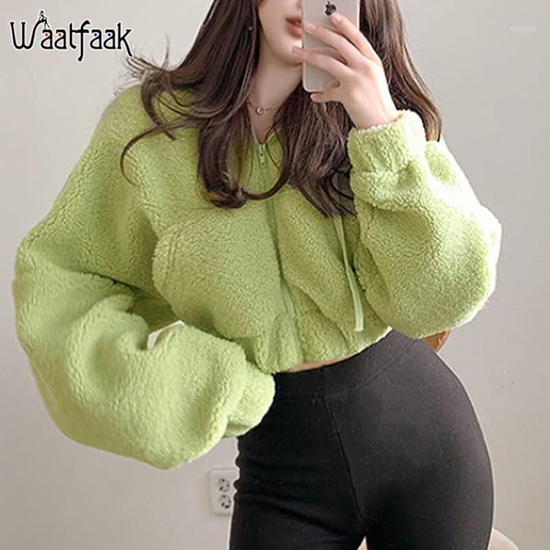 Waatfaak Green Faux Fur Crop Top Jacket Women Zipper Green Teddy Jacket Winter Faux lambswool Coat Fake Fur White Pocket Autumn1