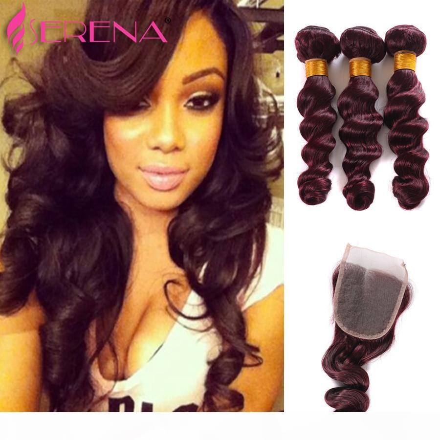 New Arrival Burgundy Malaysian Human Hair Bundles 99J Loose Wave Human Hair Extensions Ombre Hair Weaves Mink Body Wave with Closure