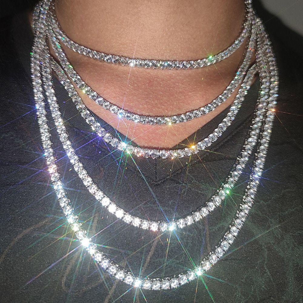 3mm 4mm 5mm Hip Hop Tennisketten Schmuck Herren Diamant Tennis Kette Halskette 18 Karat Echtgold / weiß vergoldet Bling Kette Halsketten