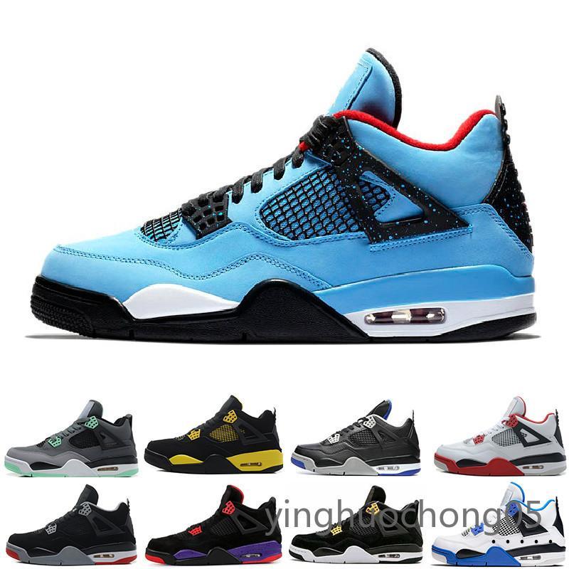 Pas cher Top 4 hommes chaussures de basket-ball chaussures de sport blanc tonnerre Ciment argent pur Libre de Bred Royal Game 4s Chaussures de sport US 7-13 YHC6