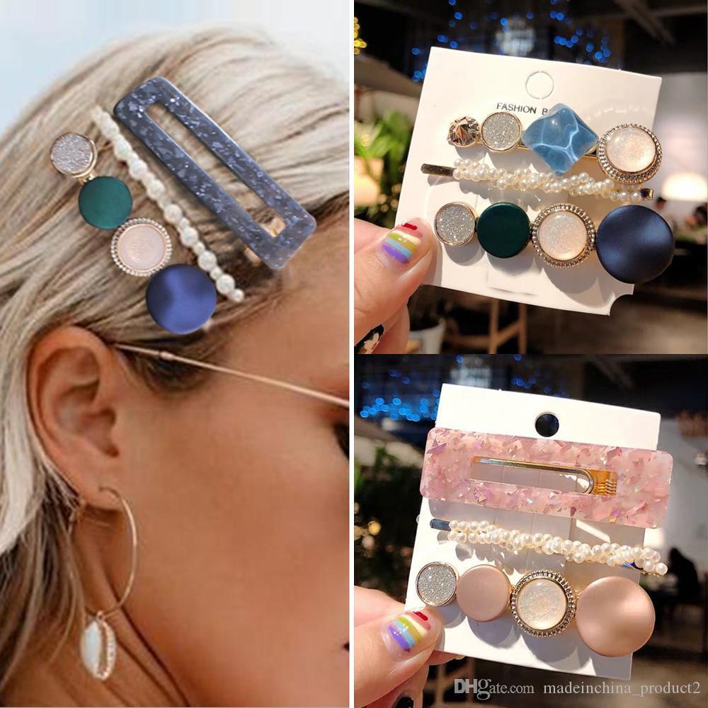 Clips de 3pcs / set acrílico pelo de las muchachas de las horquillas para las mujeres de Europa y América retro de la aleación del metal de la princesa pelo de la venda accesorios Set