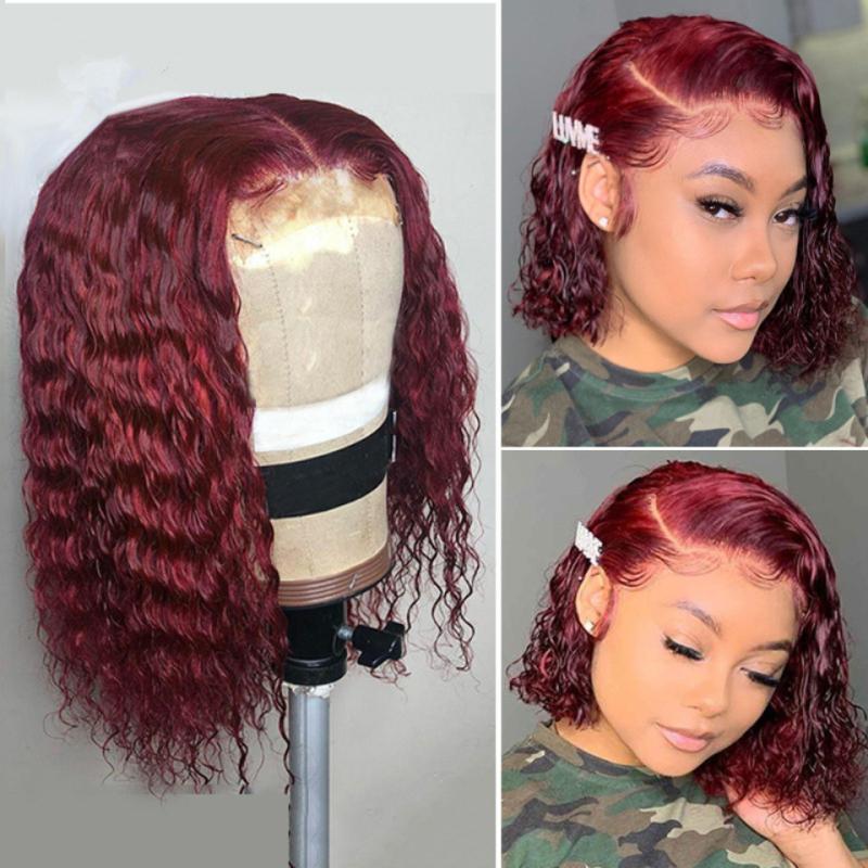 Color humano encaje pelucas de pelo 99j frente del cordón de Borgoña Bob peluca rizada peluca de cabello humano peluca roja 13x6 frente del cordón pelucas de cabello humano