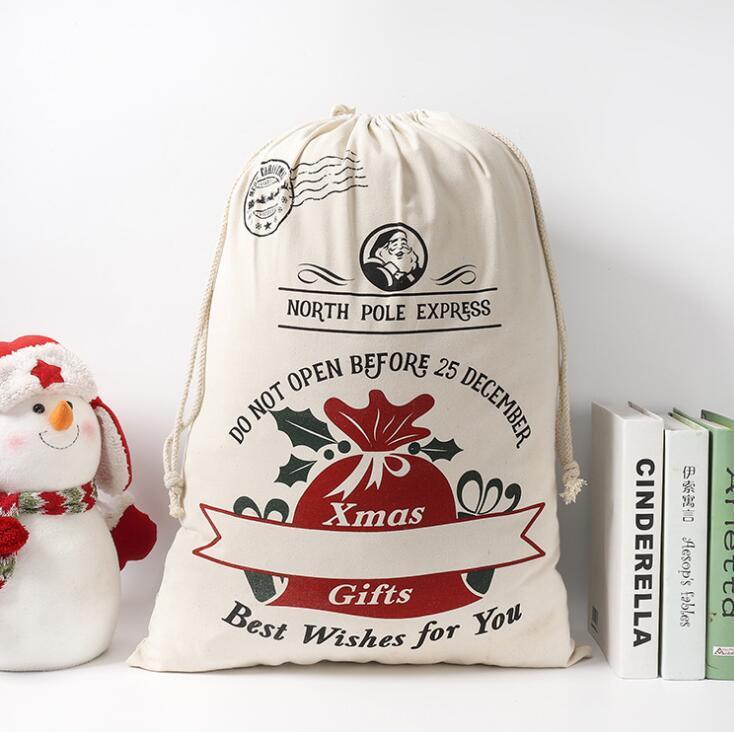 Presente de Natal sacos de algodão bolsa de lona de Santa Sacks Monogrammable de Santa Sack Drawstring Bag Decorações de Natal Papai Noel cervos KKB2763