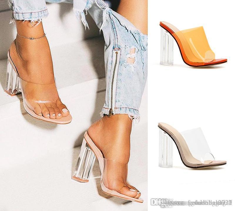 Estate calda PVC trasparente Donna Sandali Open Toe ClearCrystal Tacchi alti scivolare su sandali vestito delle signore pantofole scarpe arancio albicocca