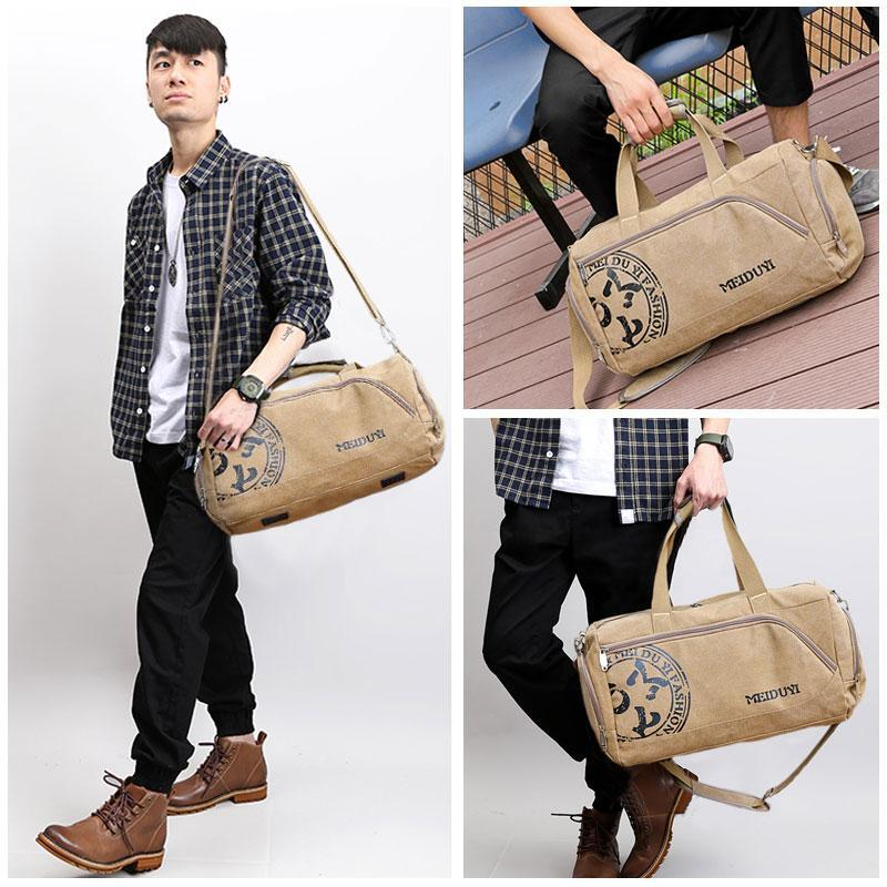 Men Travel Printing Luggage Vintage Shoe Bags Sports Large Bag Crossbody Casual Durable Shoulder Hand Canvas Pack Storage Qdbrx