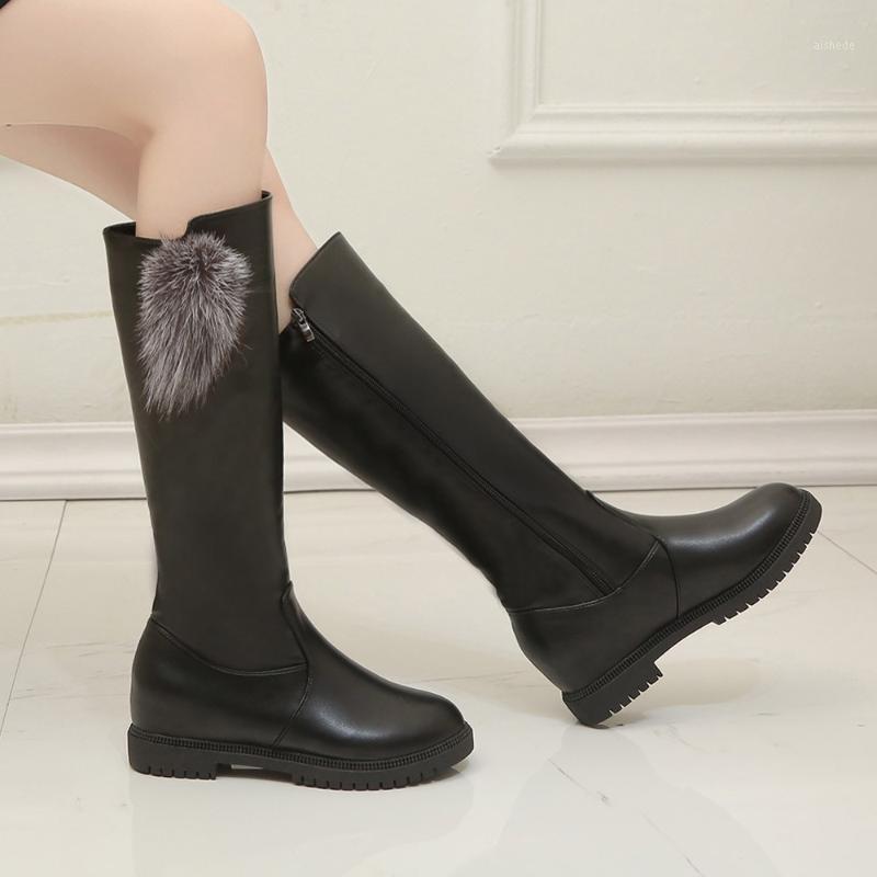 Stivali da donna Scarpe invernali Ginocchio Alta grande dimensione di qualità in pelle di marca in pelle e stivali peluche1