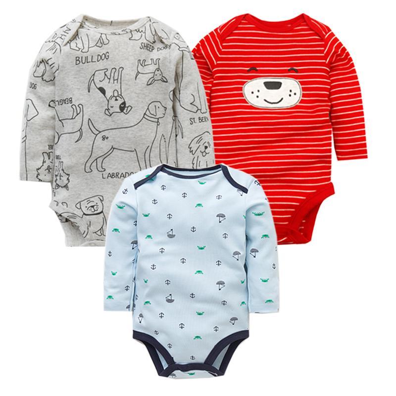 3pcs / Lot bebé recién nacido Body Set 100% algodón muchachas de los bebés de los pijamas ropa infantil de la ropa interior de manga larga Ropa de bebé 201114