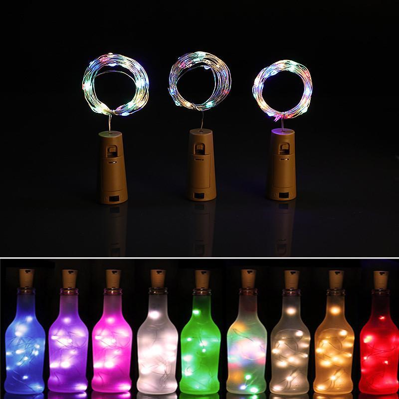 2m bottiglia di vino per bottiglia di sughero String String 20 luci a LED Potenza della batteria per il partito Wedding Birthday Party Capodanno Capodanno barra di Natale decorazione bottiglia luci
