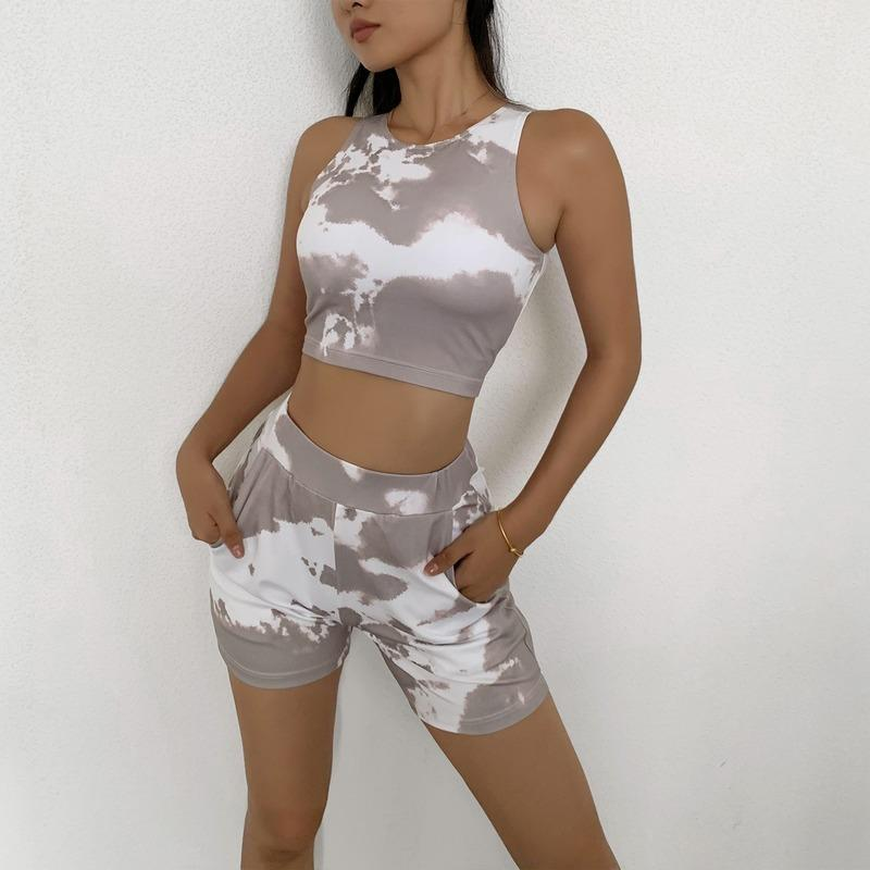 Tie tinture pantaloncini da allenamento set da donna vestito per yoga fitness sportivo abiti donna sportiva donna abbigliamento abbigliamento vestito senza soluzione di continuità due pezzi moda femmina
