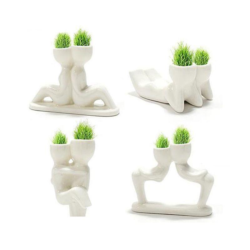 20 unids Lindo Mini Mini Creative Man Plant Gift Factory Hair Hierba Muñeca Mini Plant Fantastic Home Decor Pot Garden DIY Con Ship Fast