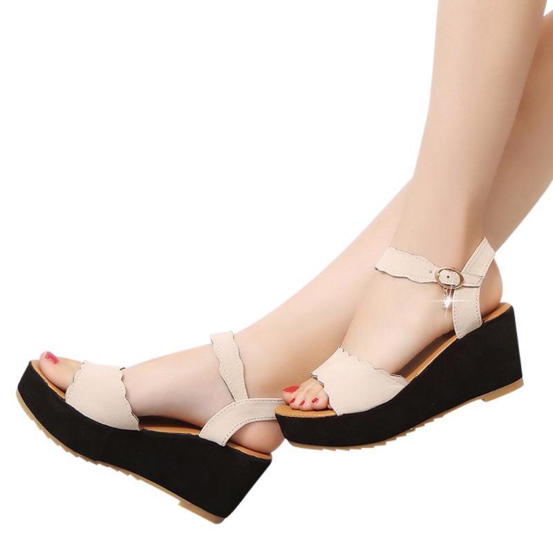 Dress Shoes Fish Bocca Sandali antiscivolo Donne Estate Donna Wedges Piattaforma Square Tacco alto Bianco Black Black Spessa
