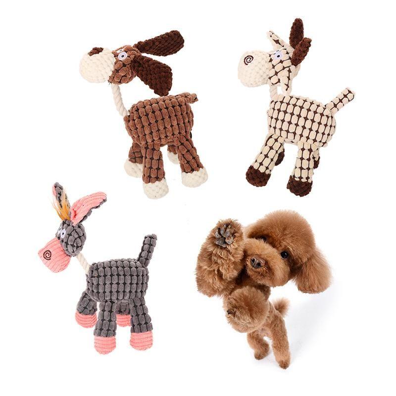 3 Styles Esel Form Dog Chew-Ton-Spielzeug für kleine Hunde Plüsch Squeaky Welpen Resistant Tier Pet Supplies Biss