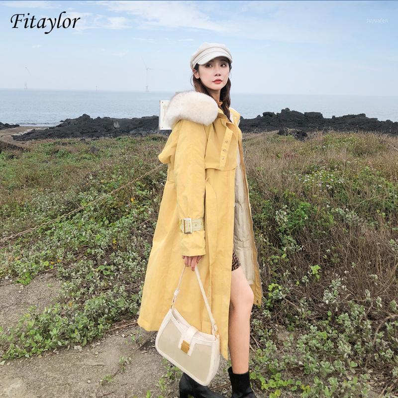 Fitaylor большой натуральный мех толщиной зимние женщины белые утка вниз длинные парки съемная подкладка с капюшоном Пальто теплый снег