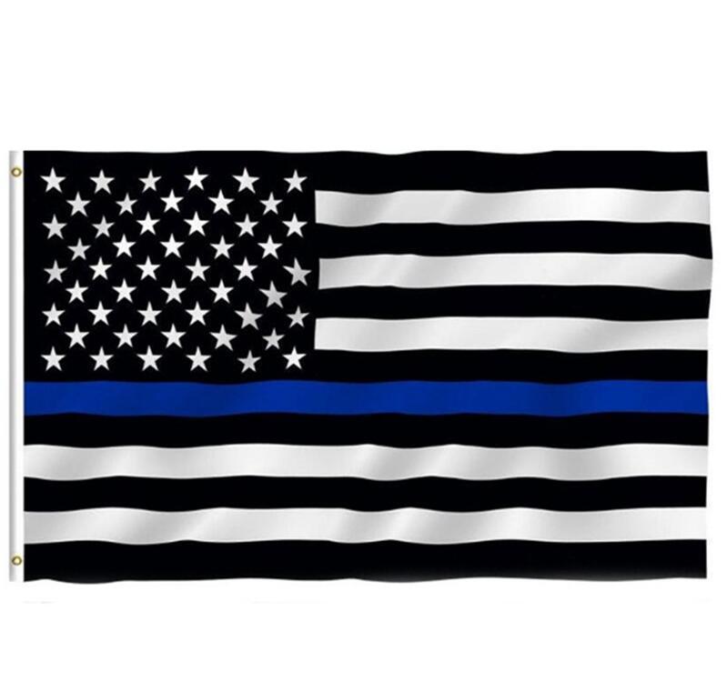 Dünne blaue Linie Flagge amerikanische Polizei-Flaggen 3X5FT USA General Wahlland Banner für Trump Fans W77