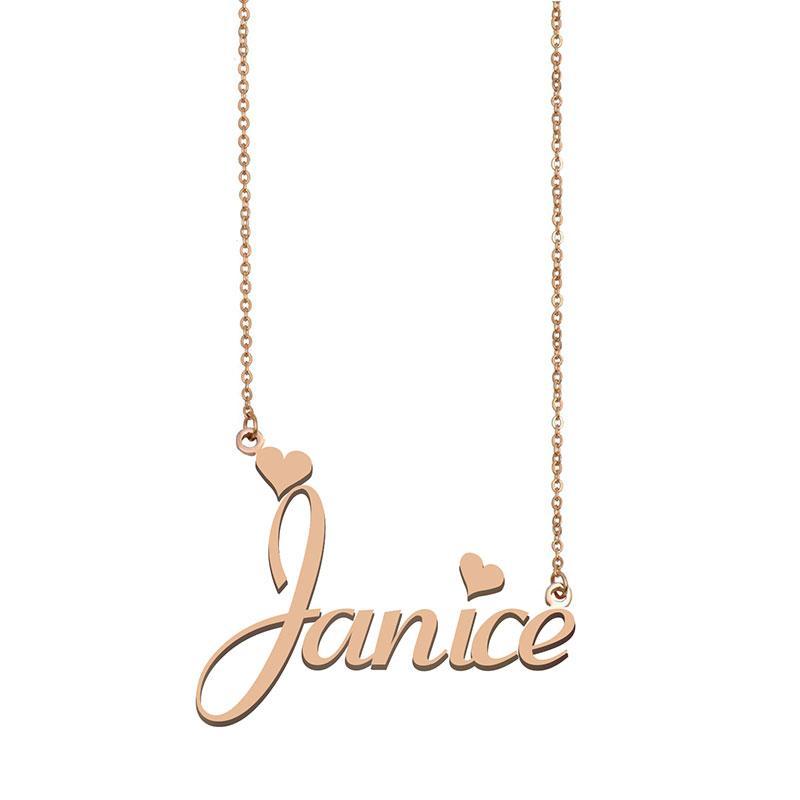 Janice Namensketten Anhänger Gewohnheit personifizierte für Frauen Mädchen Kinder beste Freunde Mütter Geschenke 18k vergoldet Edelstahl