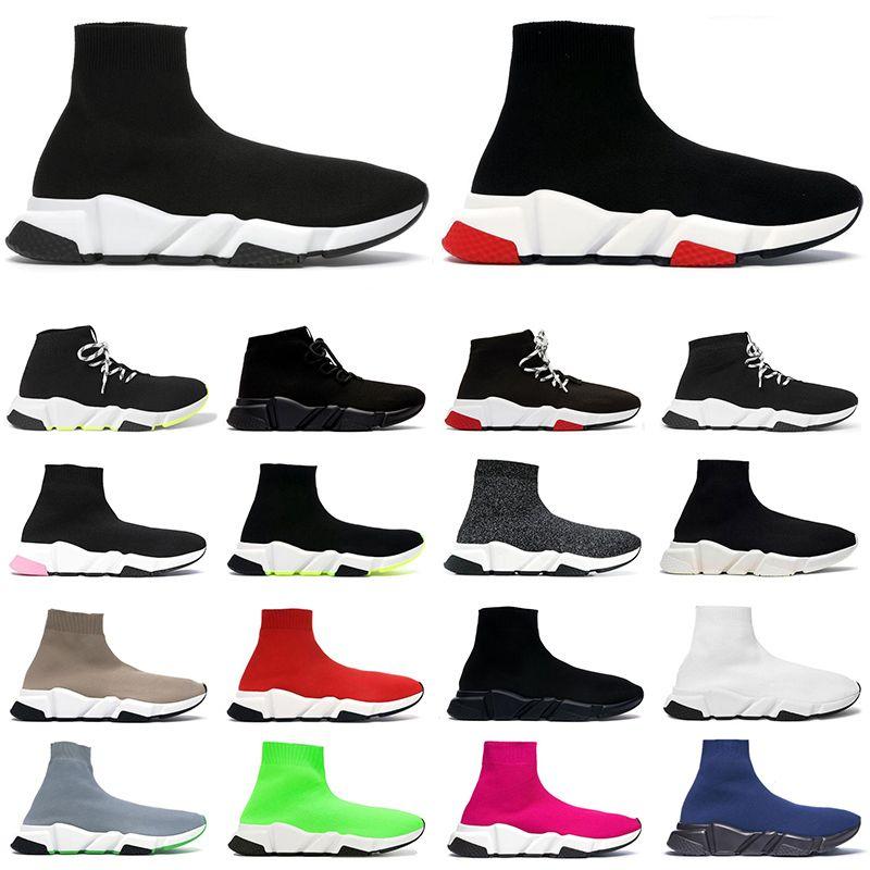 2020 erkek kadın tasarımcı çorap ayakkabı hız eğitmeni siyah beyaz glitter pembe mavi moda lüks erkek eğitmenler rahat kanvas ayakkabılar platformu
