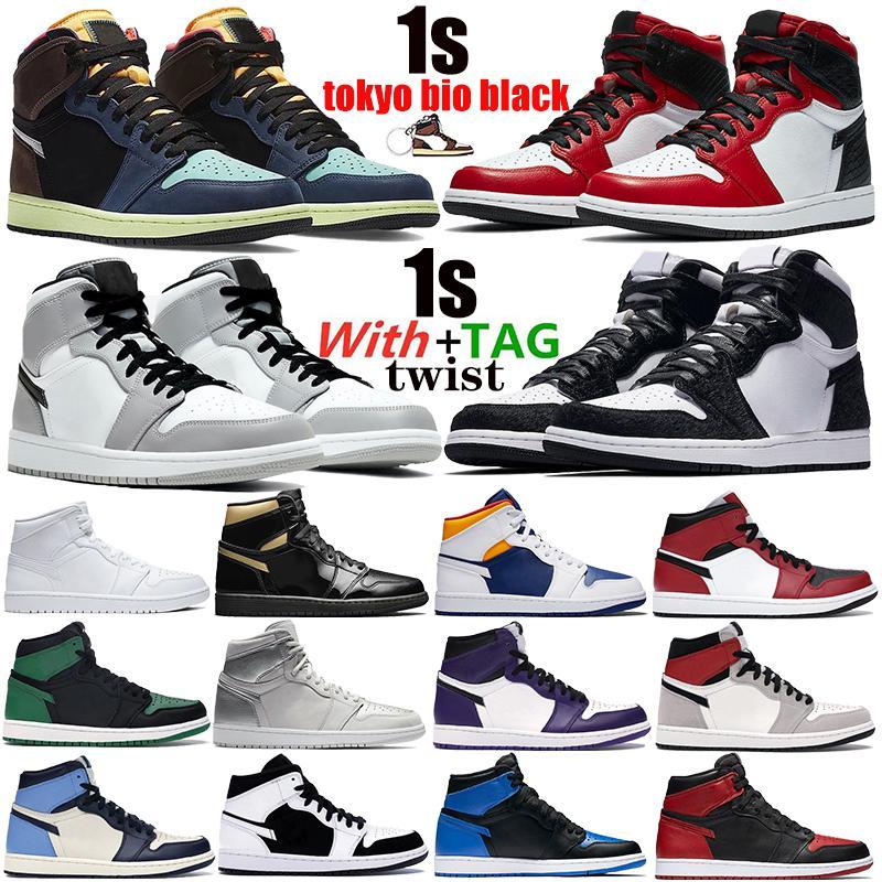 1 1s alta OG Luz Humo zapatos de baloncesto de la torcedura gris satinado prohibidos serpiente del dedo del pie de Chicago Tokio bio negro para hombre de las zapatillas de deporte de Jumpman formadores deportivos