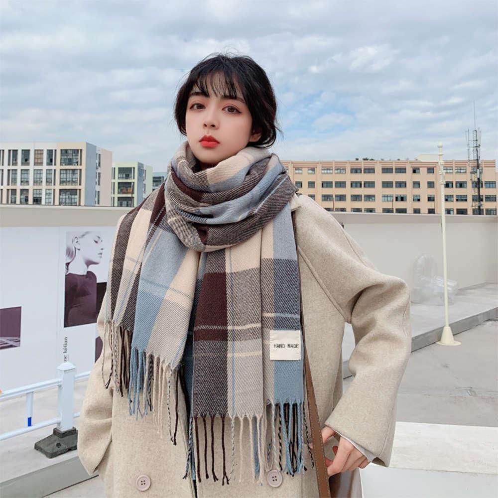 Sciarpa femminile inverno coreano versione versatile britannico classico plaid plaid ispessito studente autunno e inverno sciarpa da uomo caldo caldo scialle moda lunga moda