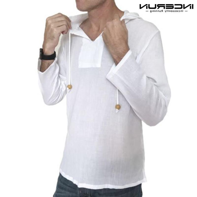 İncerun 2020 Sonbahar Gömlek Kapşonlu Uzun Kollu 100% Pamuk Katı Casual Gömlek Erkekler Gevşek Streetwear Tops Camisa Masculina S-3XL