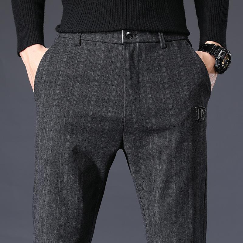 Vestido rayado ICPANS pantalones de los hombres de lana elástico de la cintura regular Office Business Pantalones para hombres Ropa