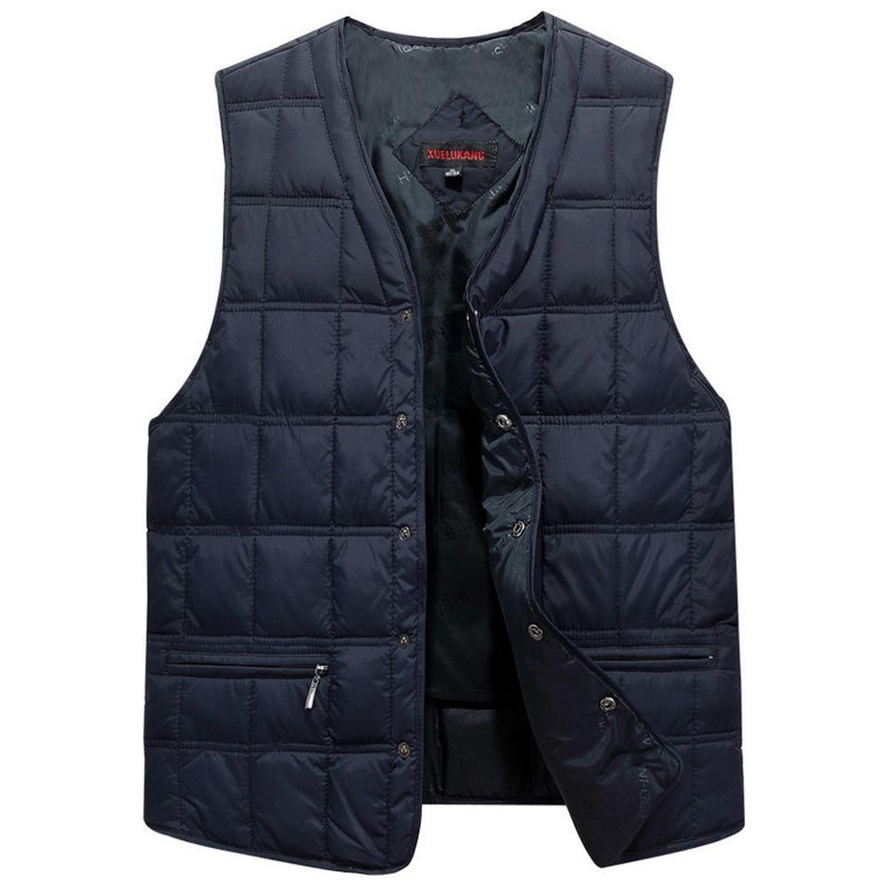 Зимние платья мужчины белый утка вниз причинно-следственный жилет ультра легкий мужской толстый без рукавов вниз куртка мужчины теплый жилет L-5XL плюс размер 201201