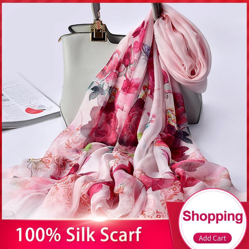 100% réel Foulard en soie pour les femmes Hangzhou soie naturelle Châles Wrap pour dames Imprimer Grande écharpe pure Foulard