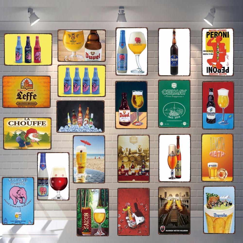 2021 Plaques de bière Belgian Plaques d'étain Plaques de métal pour mur de pub Accueil Art Rétro Bar Cafe Shop Vintage Restaurant Chambre Décoration 30x20cm