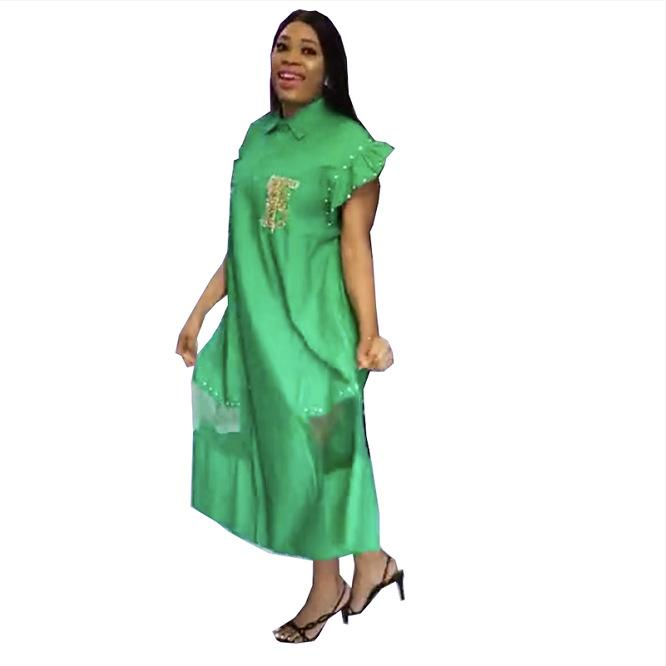 Nouveau Casual femmes Chemise à manches longues Robes Lapel cou strass Maxi robe longue Fashion Plus Size en vrac des femmes africaines Robes E05