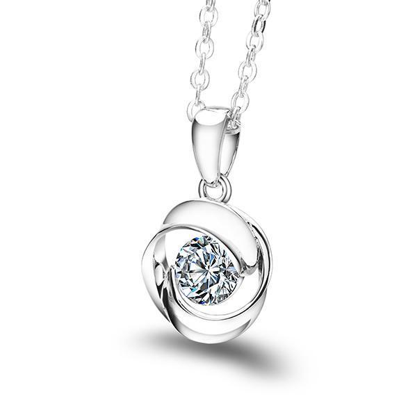 Cheestar Gems 925 Sterlingsilber-Frauen Runde Halskette mit 6,5 mm / 1 KubikZircon Damen-hängende Halsketten-freies Verschiffen