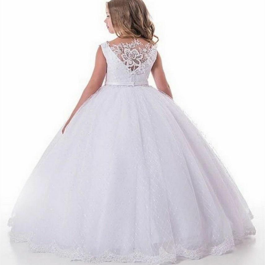 2021 bianchi Abiti da sposa per la sposa in pizzo ragazze Pageant abito dei capretti prima comunione Princess Dresses