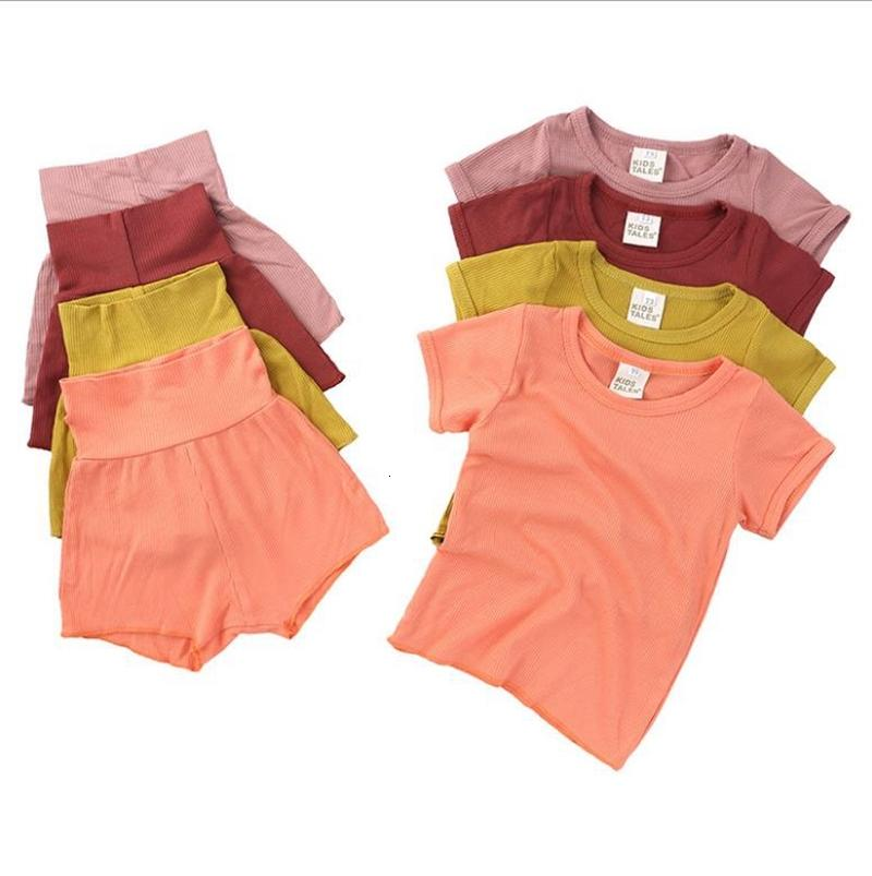 Pijamas bebé conjuntos sólidos tops tops shorts 2 unids conjunto algodón infantil niña dormir ropa de dormir manga corta niño caminata ropa para niños Ropa de niños 16 colores 5361