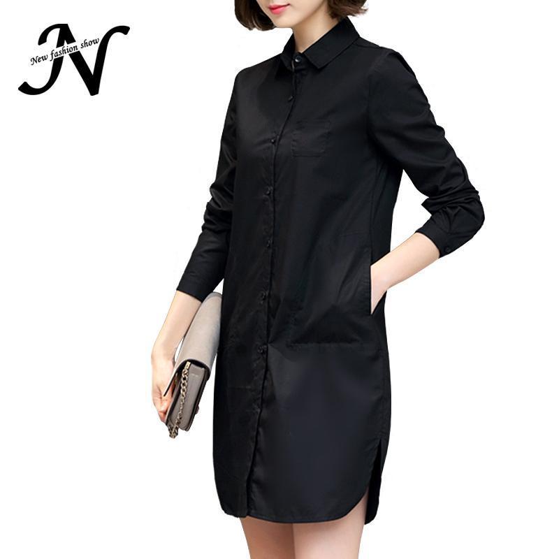 Sonbahar Gömlek Elbise Kadınlar Kore Stil Bayanlar Kısa Düz Elbise Uzun Kollu 2020 Gevşek Casual Artı boyutu Kadınlar Giyim