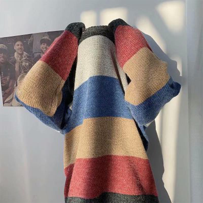 2021 осень зима новые пуловеры повседневная лоскутное мужское свитер мода raiow o-шеи трикотаж пуловера высокое качество