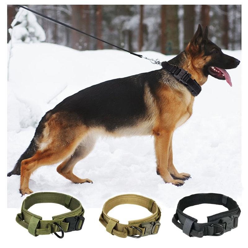 Verstellbare Nylon Tactical Halsringe für großen Steuergriff Trainings Military Dog Collar Pet Products 1020