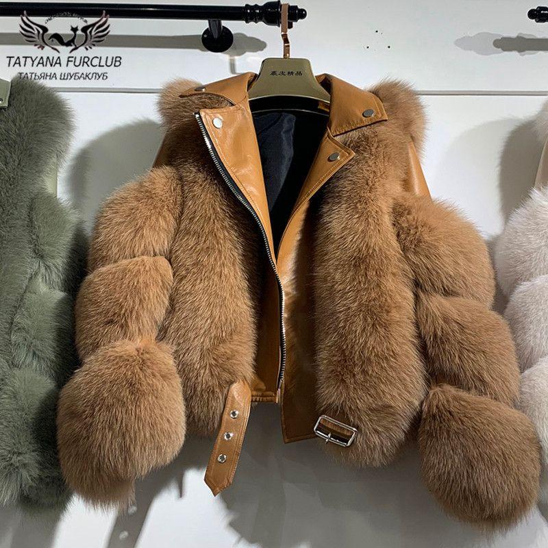 Mode d'hiver Les vraies femmes en fourrure de renard Coats peau entière en cuir véritable peau de mouton Veste en fourrure naturelle Fox luxe Outwear New 201112